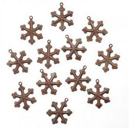 Rusted Tin Snowflake Charms (12pc) *NEW