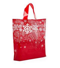"Red Poly Snowflake Handle Bag (12x3x11"") - 25pk  *NEW"
