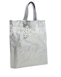 "Silver Snowflake Handle Bag (12x3x11"")  - 25pk  *NEW"