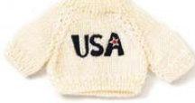 White USA Bear Sweater