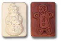 Snowman & Gingerbread Man Soap Mold 5 Cavity