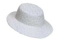 """4"""" x 3.75"""" White Straw Hat"""
