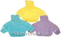 Package of 3 Bear Sweaters (1 each Yellow, Blue and Purple)