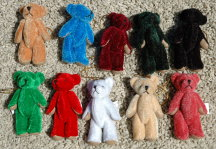 """3"""" Mixed Bears w/Gold String"""