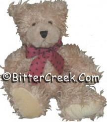 "7.5"" Tan Shaggie Teddy Bear (cranberry bow)"