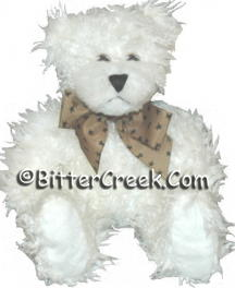 "7.5"" White Shaggie Teddy Bear (tan bow with stars)"
