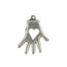 Heart in Hand Pewter Candle Charm