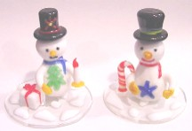 "Snowman on Plate 3"" Assorted Colors"