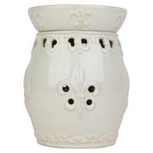 Wax Melt (tart) Warmer Fleur De Lis White