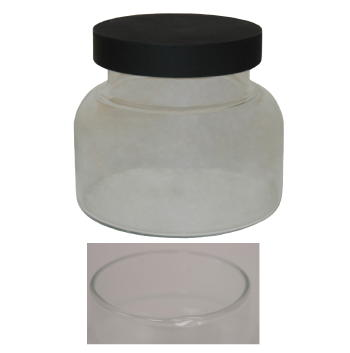 24 oz. Clear Flat Bottom Jar with Black Wood Lid (Case of 48)