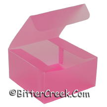 """4"""" x 4"""" x 2"""" Pink Frosted Box *Surplus"""