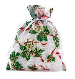 "Christmas Bells & Holly Fabric Bag (6x8"") - 12pk *NEW"