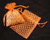 "3"" x 4"" Orange Polka Dot Organza Bags"